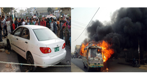 Seven vehicles torched as panic rules