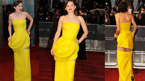BAFTA Awards 2013 Marion Cotillard reveals bit flesh panel BAFTA dress nearly shows behind