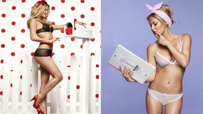 Bar Refaeli poses in sexy black bra and panties with red high heels for new underwear campaign