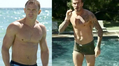 David Beckham mimics Daniel Craig as James Bond as he emerges from the water in his pants in new Guy Ritchie advert