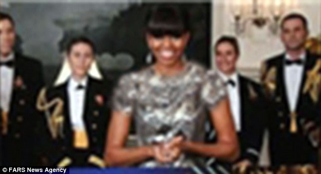 Fars News agency Digitally alters Michelle Obama's Oscars gown
