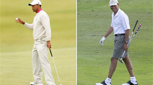 In a first, Obama plays golf with Tiger Woods