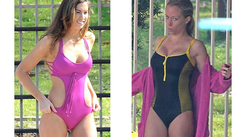 Kendra Wilkinson and Katherine Webb flash the flesh during diving practice for TV's Splash