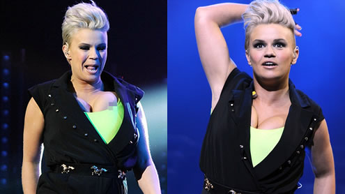 Kerry Katona's nipple slips out of her top ON STAGE