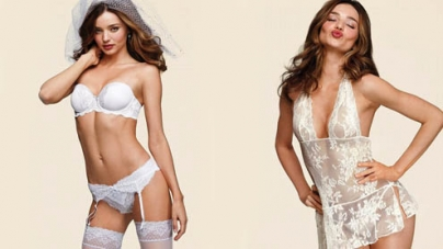 Miranda Kerr models in new campaign for the Victoria's Secret bridal underwear