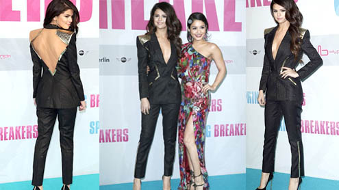 Selena Gomez flashes some serious flesh in sharp suit with plunging neckline