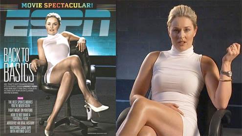 Lindsey Vonn wears tight white dress to recreate famous 'leg-crossing' scene