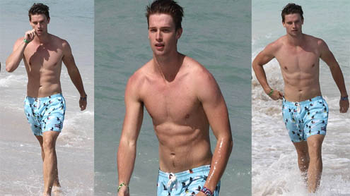 Patrick Schwarzenegger flexes his muscles on Miami Beach
