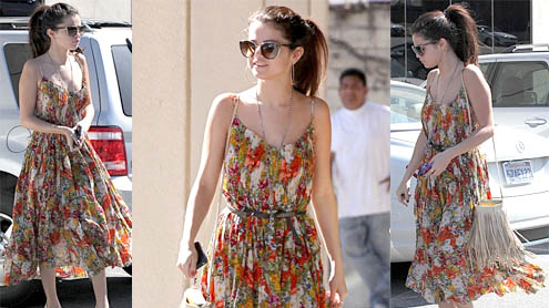 Selena Gomez gets festive in a floral dress