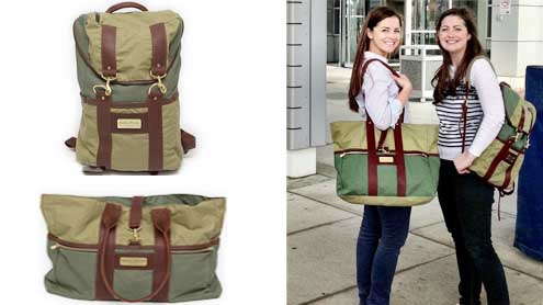 A Female Army officer using discarded Military supplies into Stylish tote bags