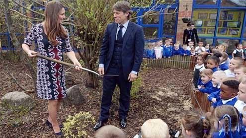 Blooming Duchess Kate plants tree on vandalised estate where TV series was filmed