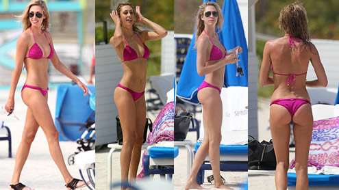 Lauren Stoner Showcases her Toned and Tanned Figure in Tiny Pink Bikini