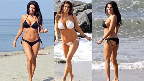 Mob Wives's Pia Rizza displays her buxom body in a tiny black bikini