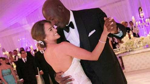 Newlyweds Michael Jordan and Yvette Prieto pictured on dance floor