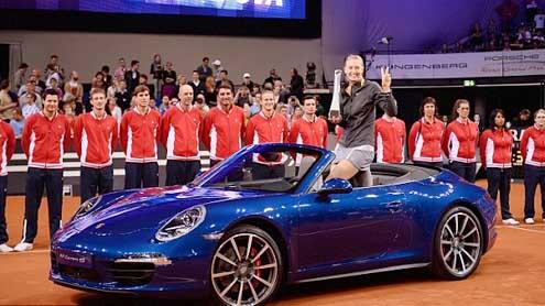 Porsche ambassador Maria Sharapova drives home in a Carrera