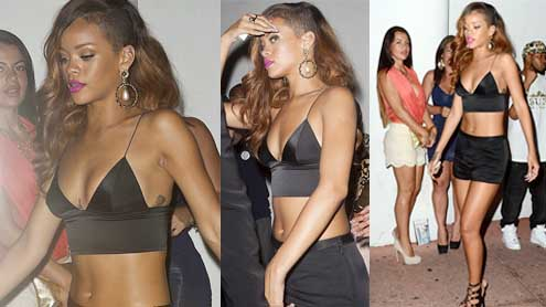Rihanna shines bright in a bralette top as she parties at Florida nightclub