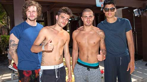 The Wanted strip off as they enjoy some much needed time out in Bahamas!