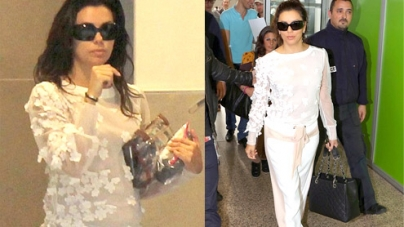 Eva Longoria fits in an airport make-up session for Cannes Film Festival 2013