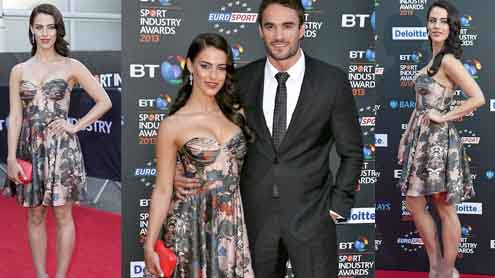 Jessica Lowndes and Thom Evans make their red carpet debut at Sport Industry Awards