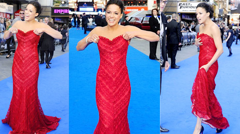 Michelle Rodriguez flaunts her cleavage at Fast & Furious 6 premiere