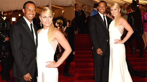 Tiger Woods wraps his arm around Lindsey Vonn at 2013 Met Ball