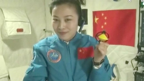 Chinese astronaut gives lecture from space