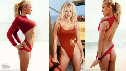 Pamela Anderson gets back into her Baywatch colour
