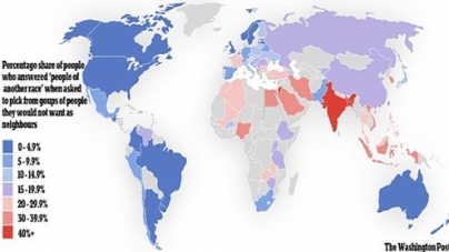 Map shows world's 'most racist' countries