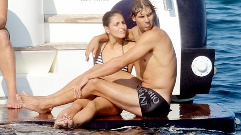 Rafael Nadal forgets about Wimbledon as he cuddles up to his stunning girlfriend Maria Perello
