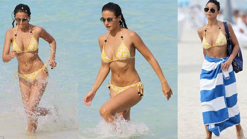 Entourage's Emmanuelle Chriqui shows off her fabulous figure in a string bikini