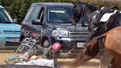 Dramatic moment Runaway Horse threw its Rider who Almost Landed on Toddler in Buggy
