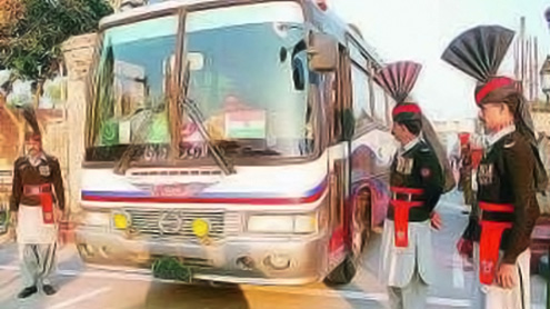 Delhi-Lahore bus briefly stopped by protesters in India