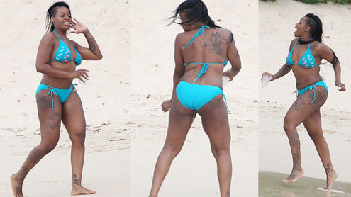 Fantasia Barrino tries racy dance in Barbados & a bejewelled bikini