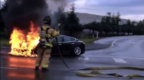 First fire in a Tesla Model S