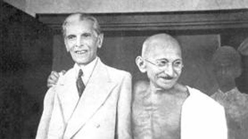 Quaid-e-Azam Mohammad Ali Jinnah and Mahatma Gandhi