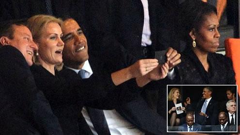 Obama and Cameron Strike a Pose with Danish PM during Mandela Memorial