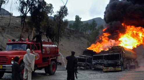 Taliban hit Nato fuel trucks