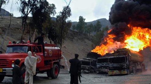 Taliban hit Nato fuel trucks