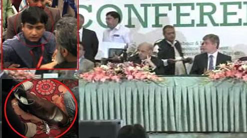 shoe throws Shahbaz Sharif
