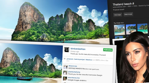 Kim slammed by fans for Passing off Google Image of beach in Thailand as her own