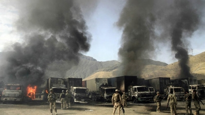 Taliban Attack on Nato Base in Afghanistan Destroys trucks