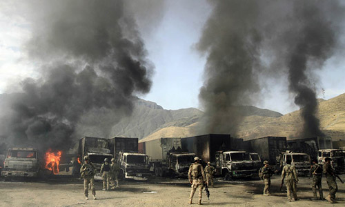 Taliban Attack on Nato Base in Afghanistan Destroys trucks