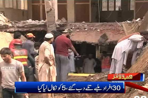 mosque roof collapses