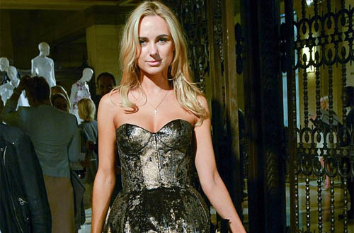 Kimberley Garner Bell Shaped Dress at London Fashion Week