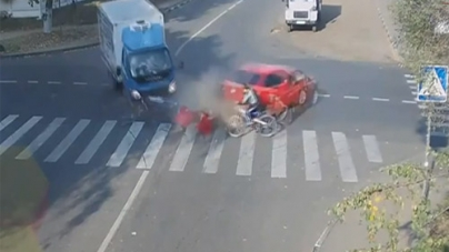 Lucky Cyclist Narrowly Escapes Death