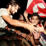 Afridi shakes hands fan