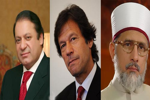 nawaz sharif  tahir qadri and imran khan
