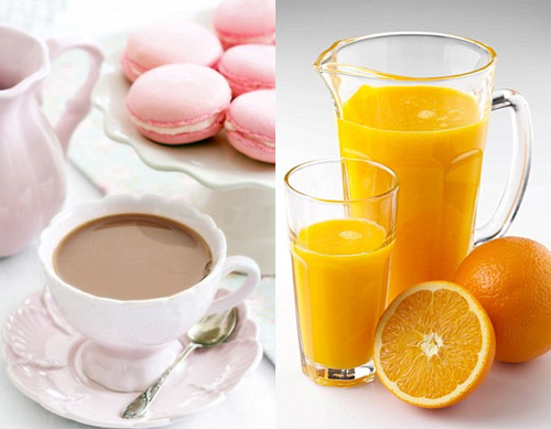 tea and orange juice
