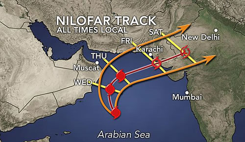 Pakistan, India, Oman on Alert for Tropical Cyclone Nilofar