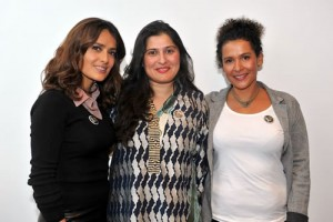 Salma Hayek and Sharmeen Obaid Chinoy and Mariane Pearl